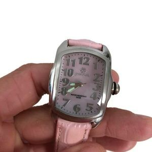 Pastorelli silver tone and pink leather watch